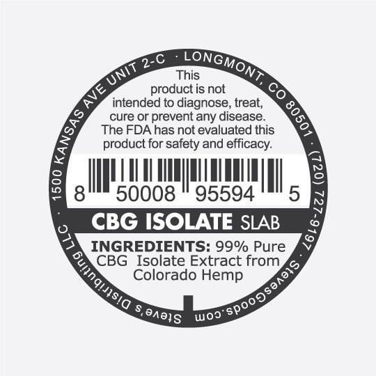 CBD CBG Isolate 1G v2 CBG Isolate S back