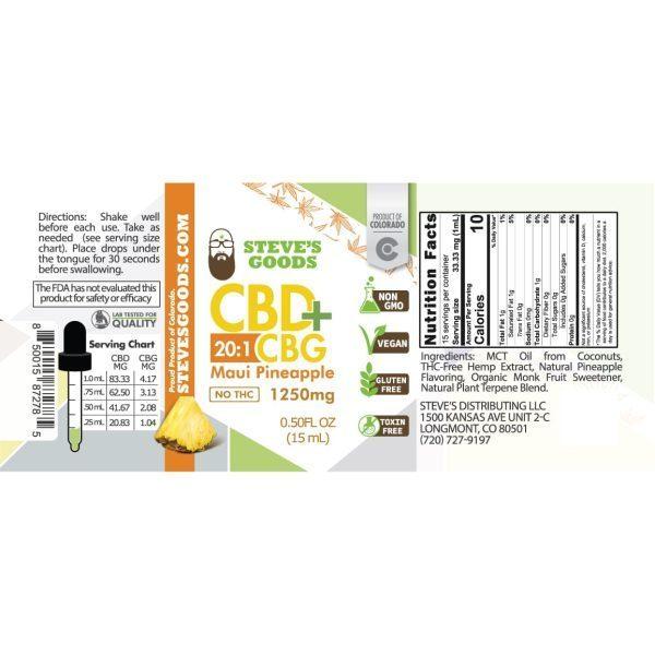 Maui Pineapple 1250mg 30mL CBG Oil Tincture Label