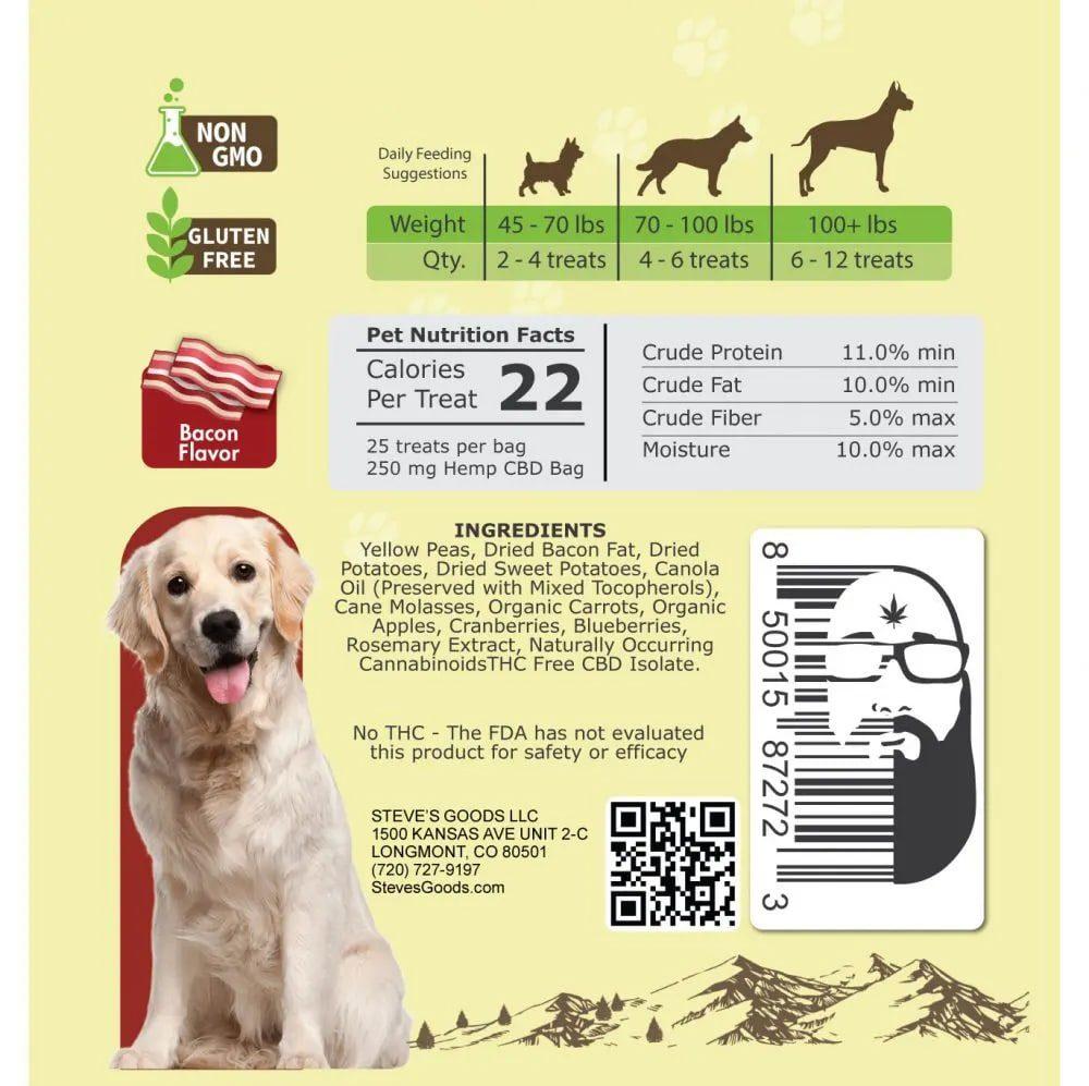 CBD Dog Treats Label Back Bacon